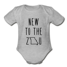 Load image into Gallery viewer, Rookie - Organic Short Sleeve Baby Bodysuit (Black Print) - heather gray