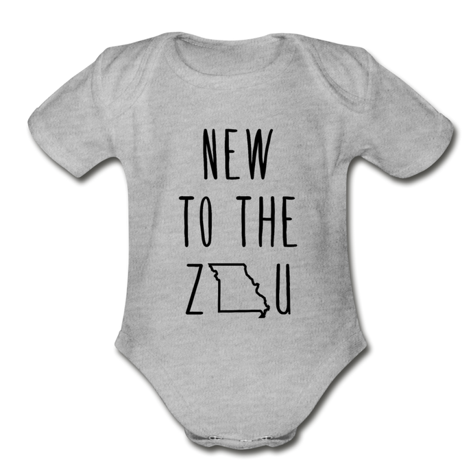 Rookie - Organic Short Sleeve Baby Bodysuit (Black Print) - heather gray