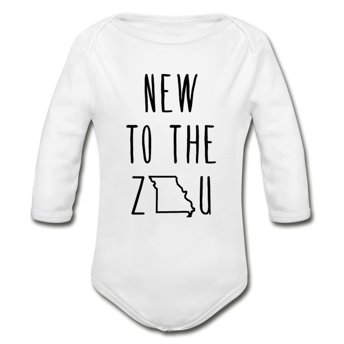 Rookie - Organic Long Sleeve Baby Bodysuit (Black Print) - white
