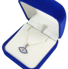 evil eye necklace oval pendant sterling silver in a blue gift box