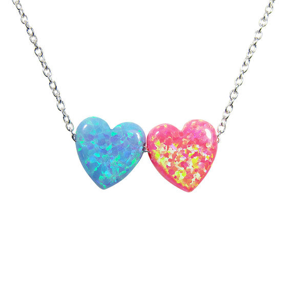 Heart necklace. Double heart necklace.