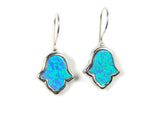 Opal hamsa hand earrings Blue