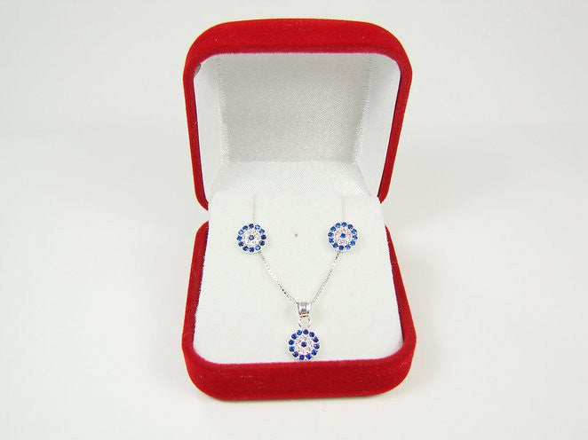 Evil Eye Necklace and Earrings Set - Martinuzzi Accessories