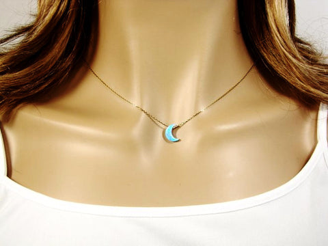 Half Crescent Moon Necklace Light Blue Opal Gold Plated 925 Sterling Silver Chain