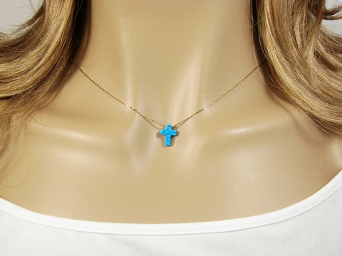 Blue Opal Cross Pendant Gold Plated 925 Sterling Silver Necklace