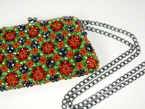 Beaded handbag. Emilia Green handbag.
