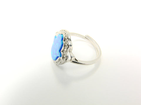 Blue opal Hamsa Hand Ring. Sterling Silver. CZ