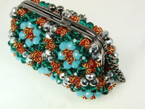 Fashion purse fully covered with faceted beads