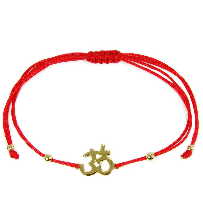 Om Bracelet Yoga Symbol Red String Gold Plated Sterling Silver Charm Hindu - Martinuzzi Accessories