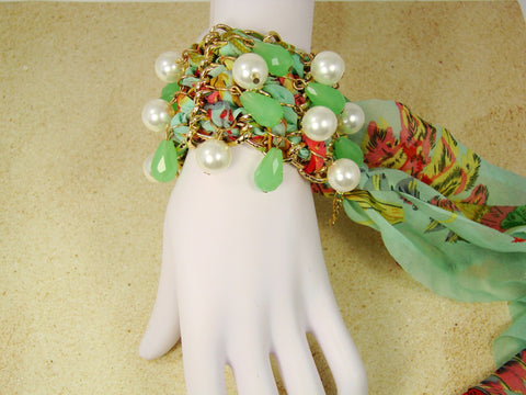 Chiffon Bracelet with beads and synthetic pearls.Martinuzzi accessories.Lucia Bracelet
