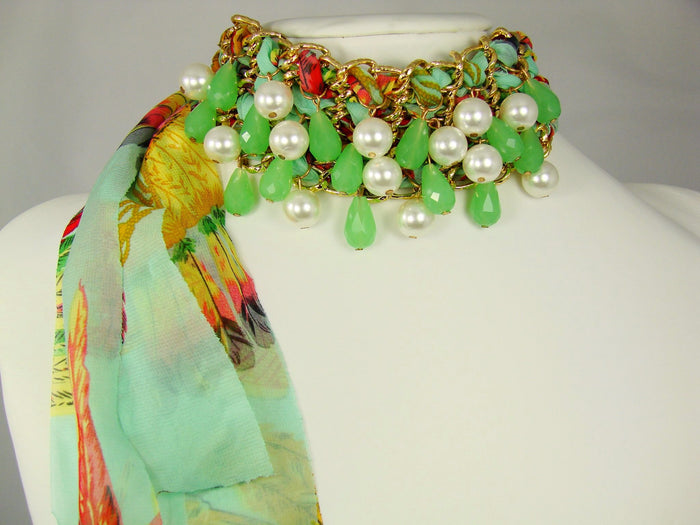 Chiffon Choker Necklace with beads and synthetic pearls.