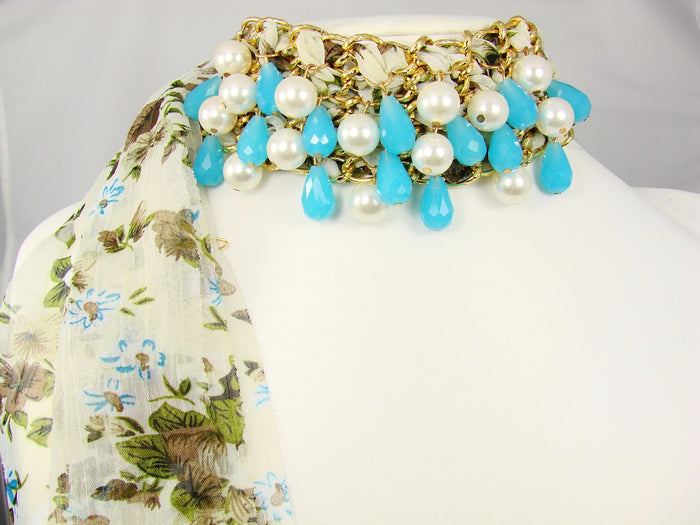 Chiffon Bracelet Choker Necklace with beads. Blue