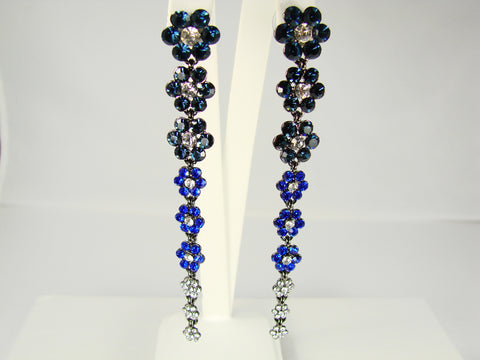 Crystal flower drop blue earrings