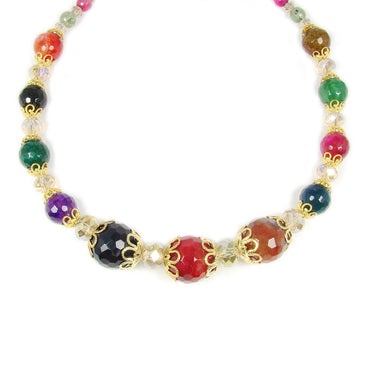 Bead necklace multicolor faceted beads Martinuzzi Accessories