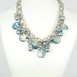 Crystal Bead Necklace Glass Beads Synthetic Pearls Beaded Statement Necklace Blue Crystal Glass Pearl Rodhium Rings