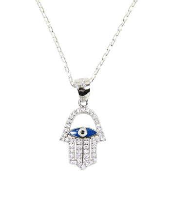 Turkish 925 Sterling Silver Hand of Fatima Evil Eye Necklace