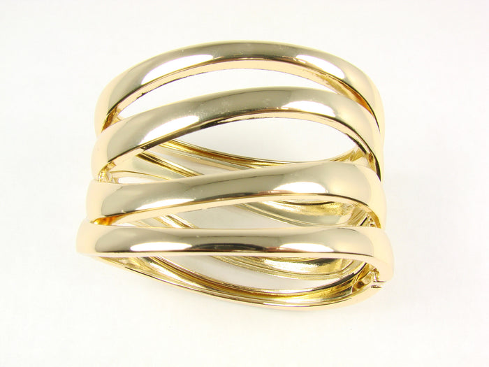 Cuff Bracelet Golden Tone Metal Flat links For Woment - Martinuzzi Accessories