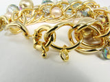 Glass Beads Bracelet Goldtone Links Brushed Crystals Bangle - Martinuzzi Accessories