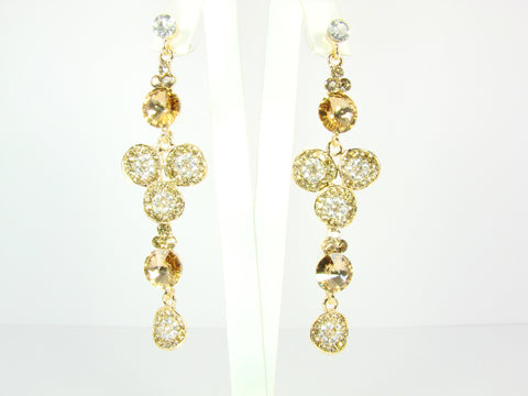 Drop earrings with white and gold rhinestones
