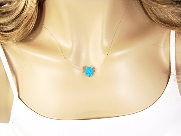 Opal Hamsa Hand Clear Necklace Floating Illusion - Martinuzzi Accessories