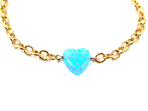 Heart bracelet opal charm gold filled chain