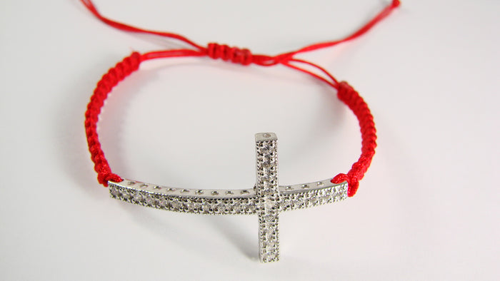 Cross Bracelet 925 Sterling Silver CZ Charm Macrame Cord Christian Gift - Martinuzzi Accessories