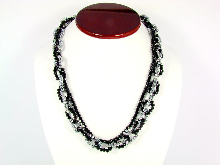 Beaded Necklace Black and Silver Beads Statement Fashion Jewelry