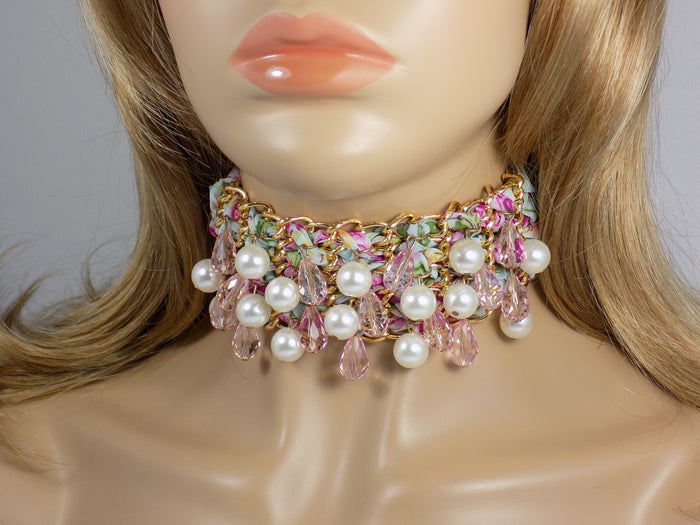 Beaded Fabric Choker Pink Floral Pattern Lace Choker Necklace - Martinuzzi Accessories