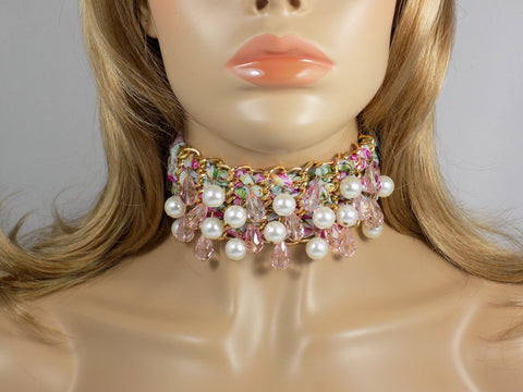 Beaded Fabric Choker, Pink Floral Pattern Lace Choker Necklace - Martinuzzi Accessories