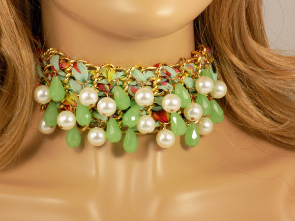 Choker Necklace with Beads Green Fabric Lace Exotic Fashion Martinuzzi Accessories