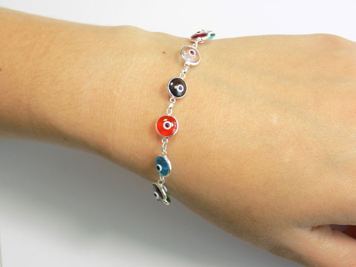 Evil Eye Bracelet Beaded Multicolor Sterling Silver Bracelet Lucky Eye Bracelet