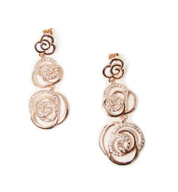 Rose Gold Tone Drop Flower Earrings with Crystals