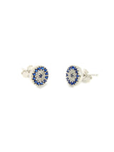 Sterling Silver Evil Eye Round Stud Earrings - Martinuzzi Accessories
