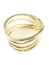 Cuff Bracelet Golde Tone Metal Flat links For Women - Martinuzzi Accessoriesn
