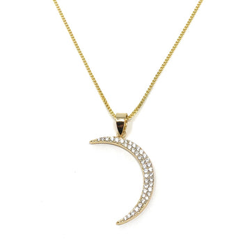 Half Moon Pendant Necklace Crescent Gold Plated Sterling Silver Charm CZ Stones