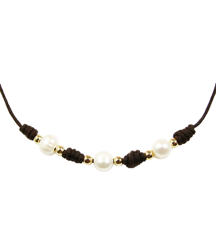 Leather choker necklace with pearls - martinuzzi accessories