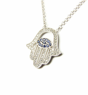 925 Sterling Silver Hamsa Hand Evil Eye Necklace - Martinuzzi Accessories