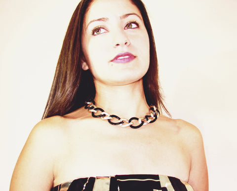 Chain Link Necklace Classic necklace in golden and black. Unique. Women. 6, Martinuzzi accessories