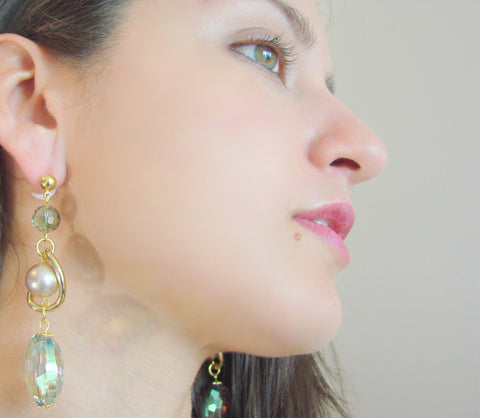 Charming earrings with glass beads,