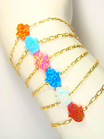 Opal Hamsa Hand Bracelet Gold Filled Chain Assorted colors