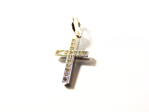 Pendant necklace. Cross necklace. CZ Cross floating illusion necklace.