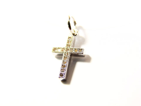 Cross Pendant Necklace Floating Illusion Cubic Zirconia Stones