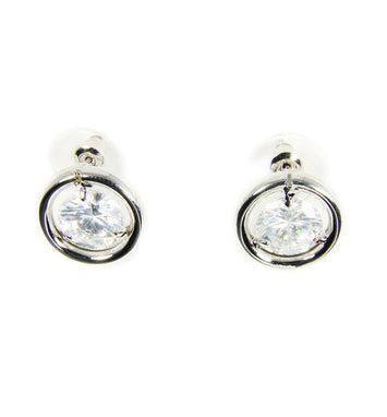 Cubic Zirconia Crystal Silver Stud Earrings