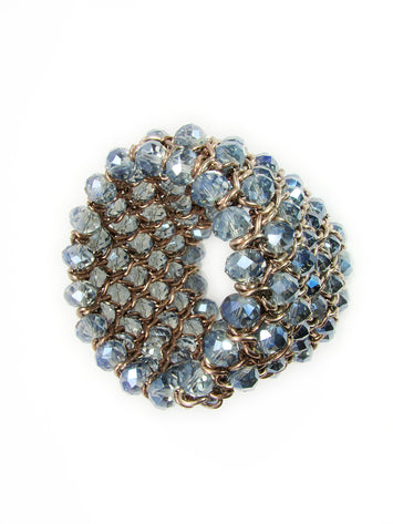 Chunky Bead Bracelet Cuff Stretch Blue Beads - Martinuzzi Accessories