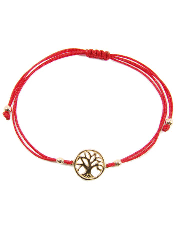 Sterling Silver Tree of Life Red String Bracelet - Martinuzzi Accessories