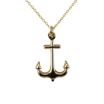 Anchor Pendant Necklace Gold Plated Nautical Necklaces Sea Boat Jewelry