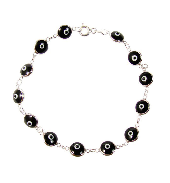 Evil Eye Bead Bracelet Black Beads 925 Sterling Silver Bracelet Turkish Greek Amulet