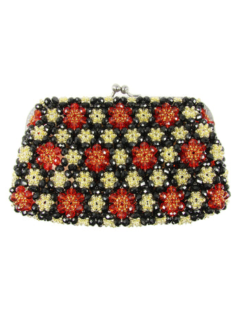 Black, Red and Gold-tone Multicolor Beaded Handbag - Martinuzzi Accessories