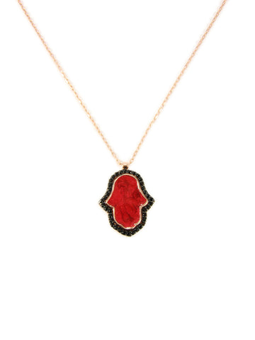 rose gold plated hamsa necklace