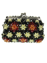 Purse for cocktail party. Beaded Black Purse Small Cocktail Glamorous High Style Women Flower Clutches Evening Bags Handbags Wedding Clutch Purse Beaded purses evening bag. - Martinuzzi Accessories